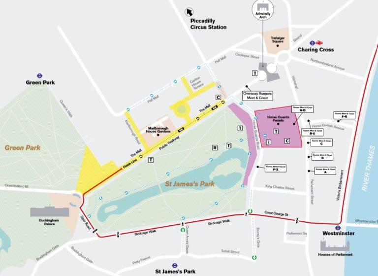 Plan d'arrivée du marathon de Londres