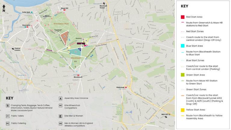 Plan du départ du marathon de Londres