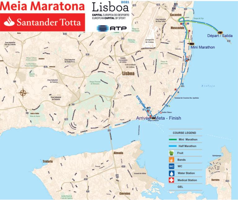 parcours des semi et mini marathon de Lisbonne